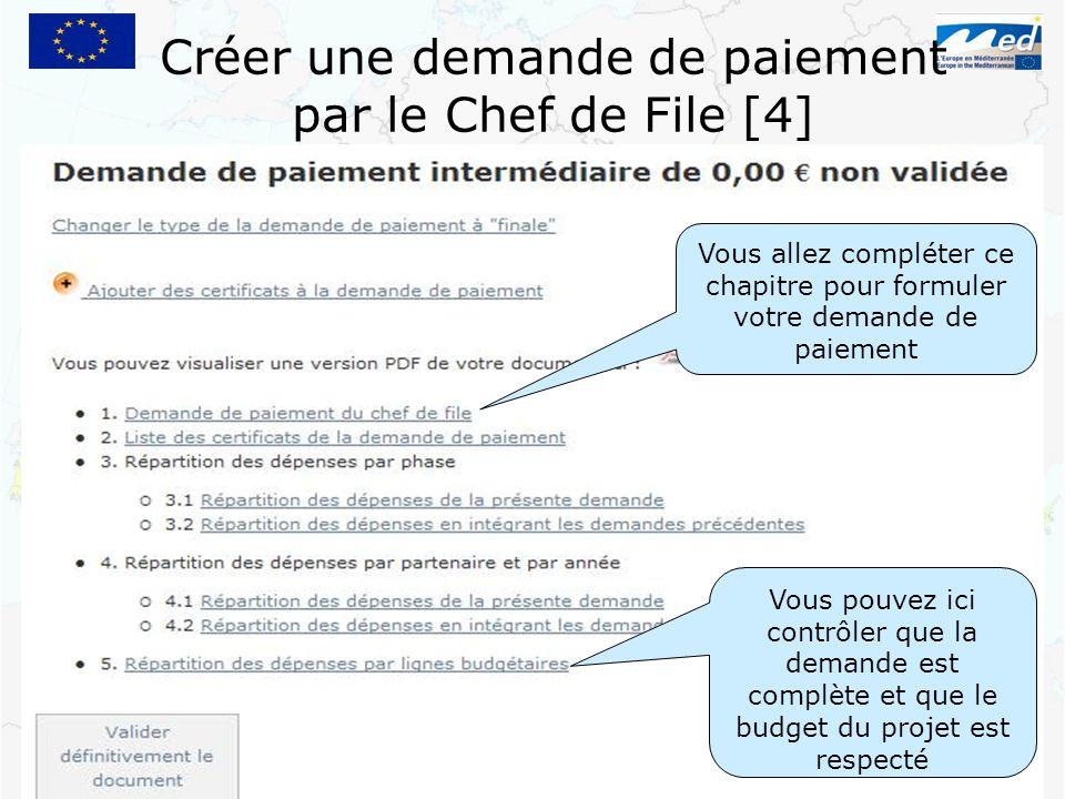 Créer une demande de paiement par le Chef de File [4]